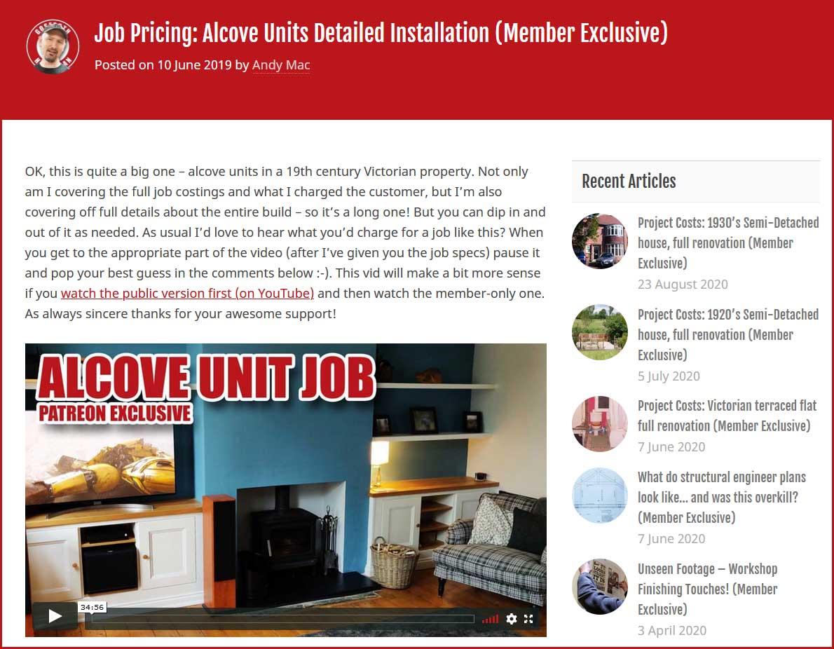 Alcove unit costs